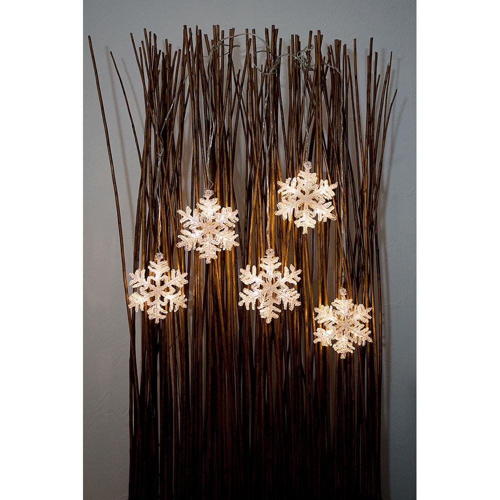 LED Acryl Schneeflocken Lichtervorhang 5er-Set 30 Warmweiße Dioden 4