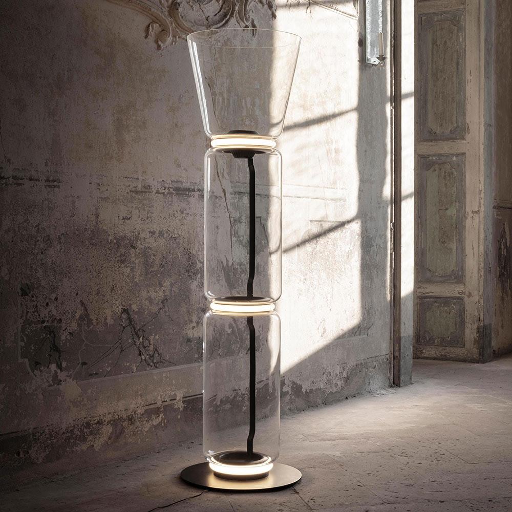 FLOS Noctambule Cone LED-Stehleuchte mit Glaszylinder