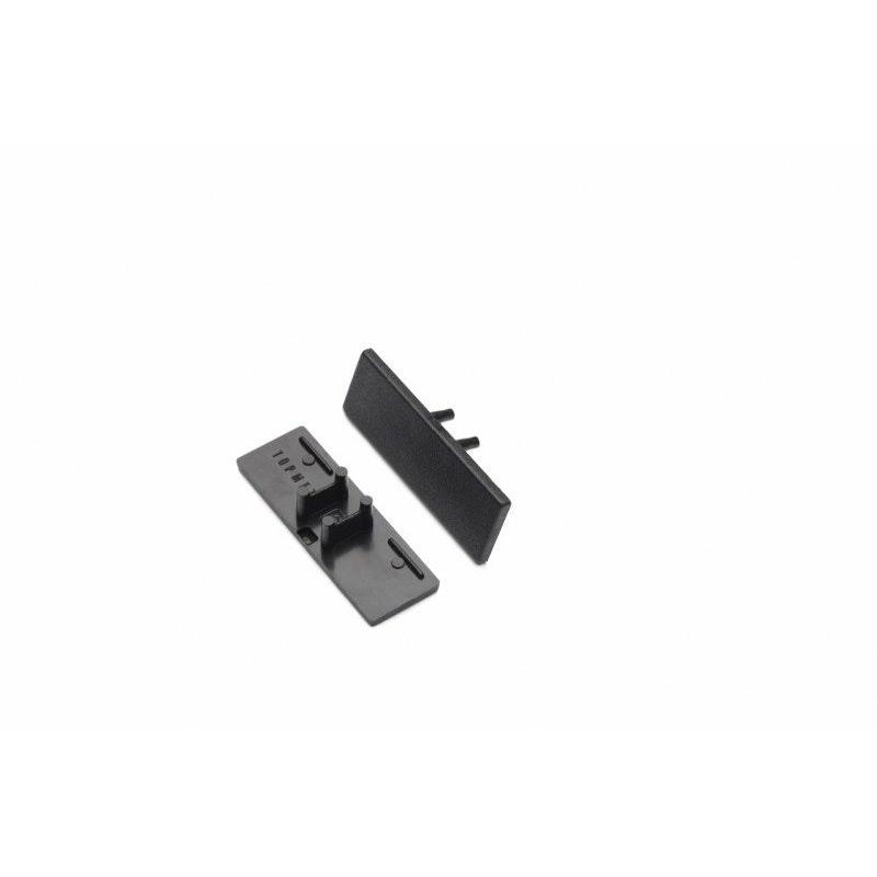 Endkappen 2er Set für Aufbau-Wandprofil T-Form Typ A Schwarz