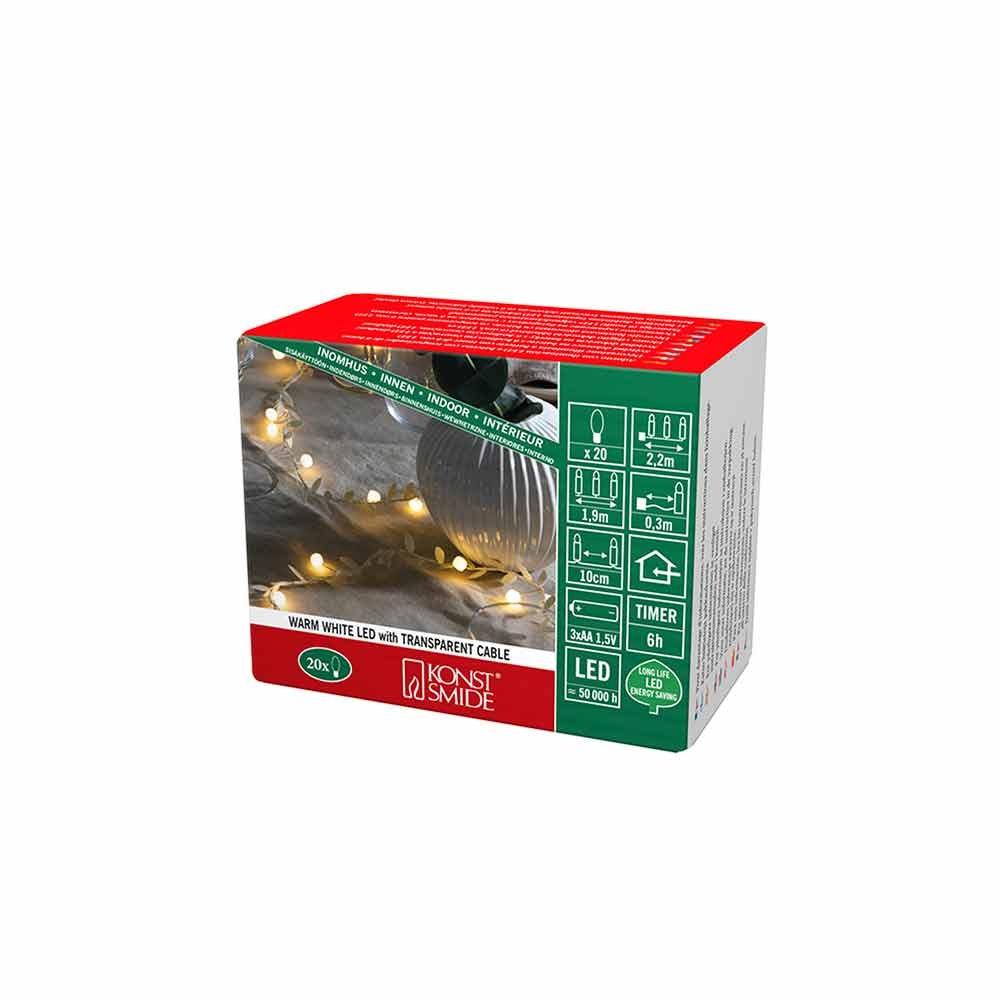 LED Lichterkette mit Dekoblättern 6h Timer batteriebetrieben 10