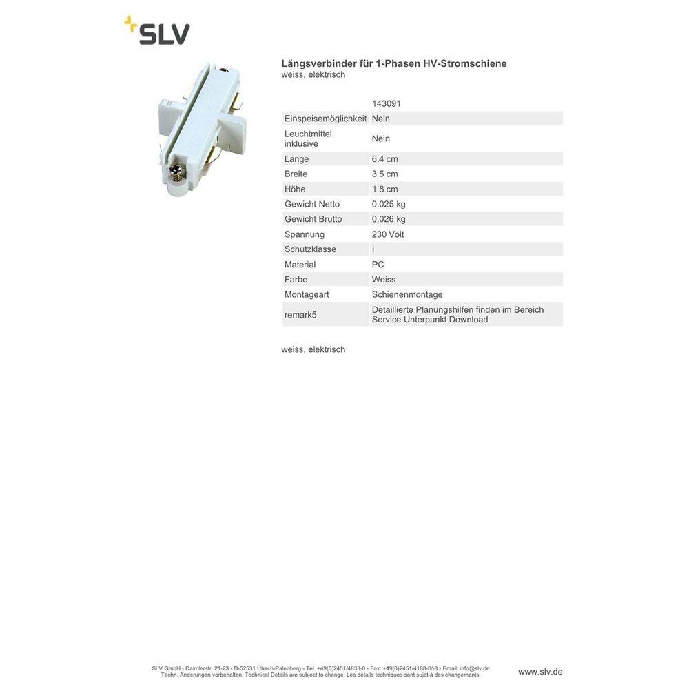 SLV Längsverbinder für 1-Phasen HV-Stromschiene weiss elektrisch 2