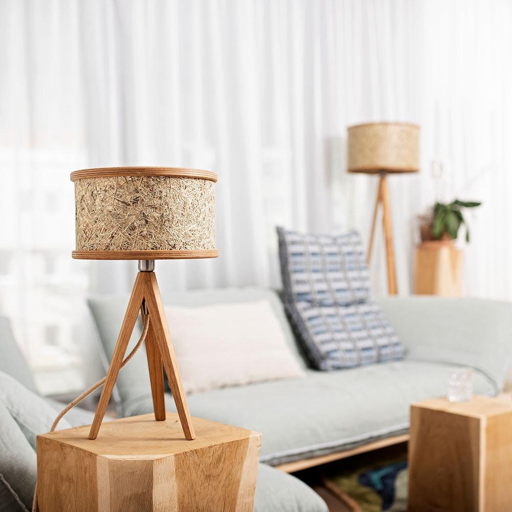 Holz Tischlampe Ø 25cm mit Heuschirm thumbnail 3