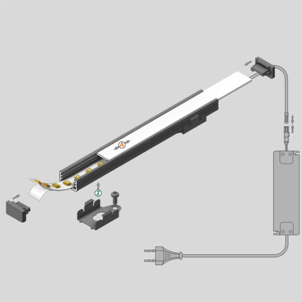 Aufbauprofil mini 200cm Weiß ohne Abdeckung für LED-Strips 2