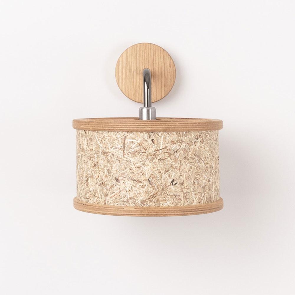 Holz Wandleuchte Ø 25cm mit Heuschirm thumbnail 5