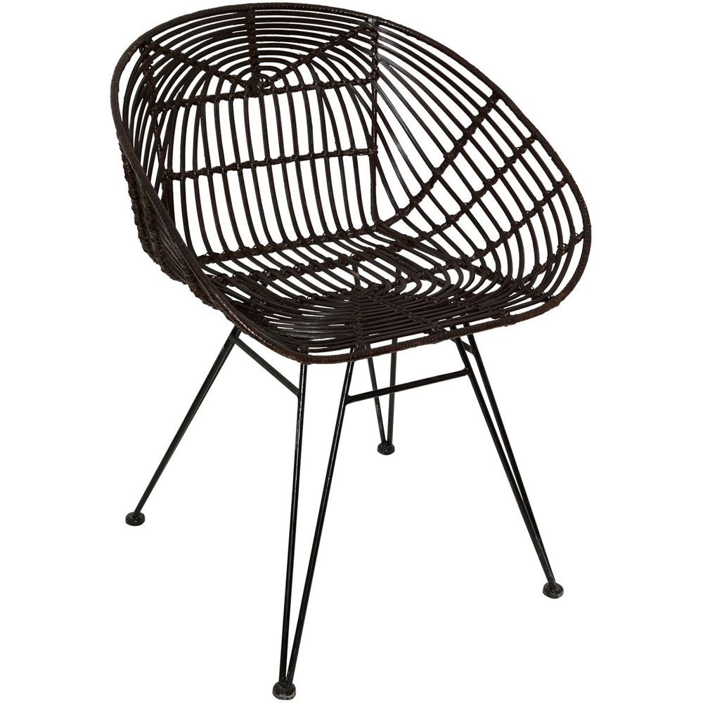Stuhl mit Lehne Seguito Rattan-Metall Braun-Schwarz 5