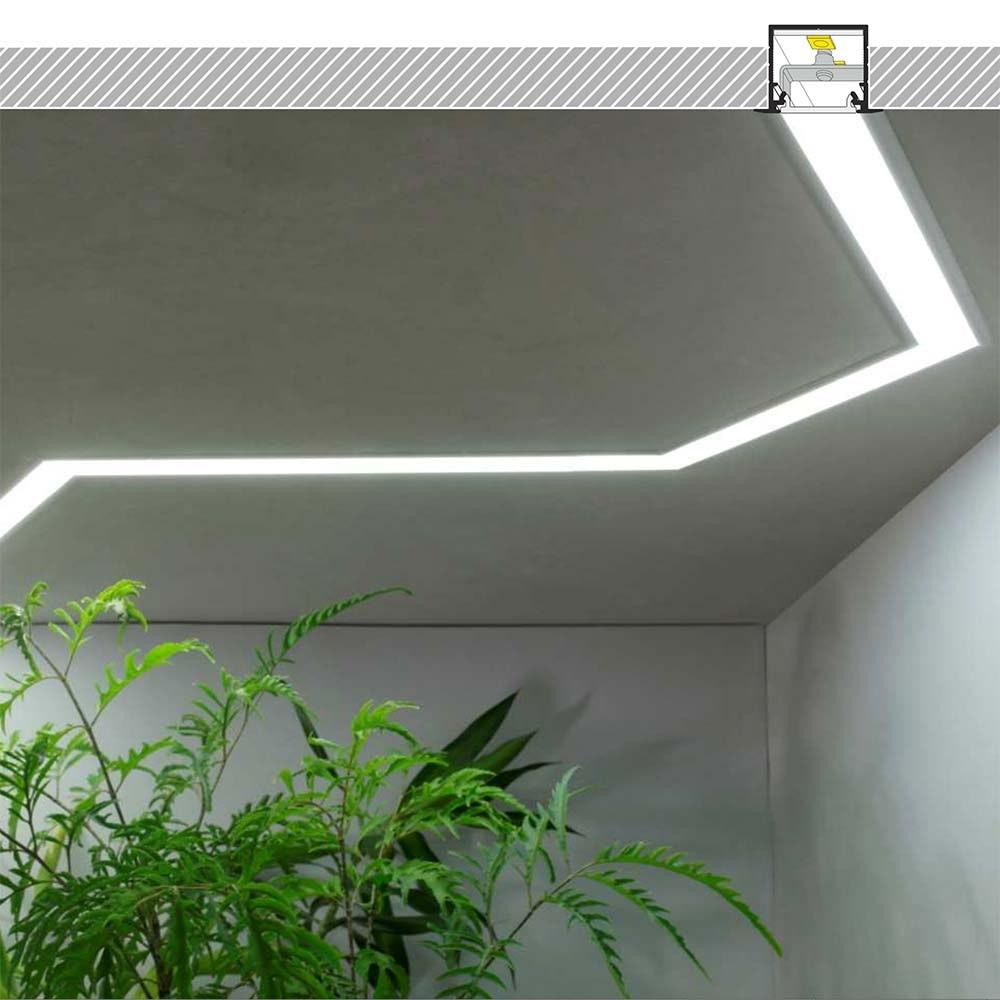 Einbauprofil tief 200cm Weiß ohne Abdeckung für LED-Strips 2