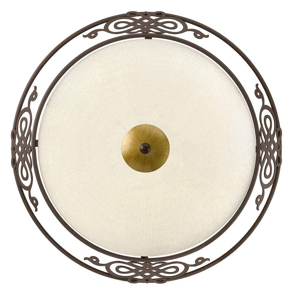 Wand- & Deckenleuchte Maserlo 2-flammig Ø 39,5cm Weiß, Antik-Braun, Gold
