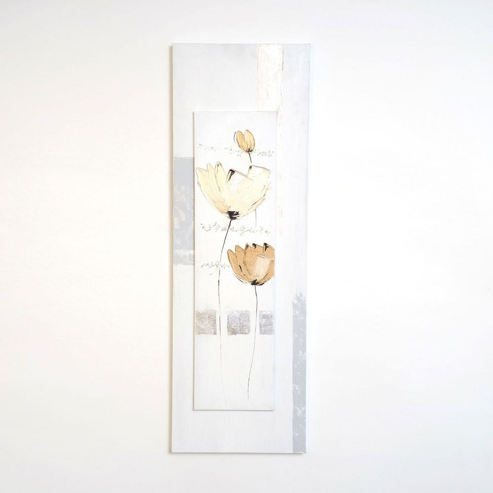 Wandbild Virtuoso Leinwand-Holzrahmen Weiß-Grau-Beige 2