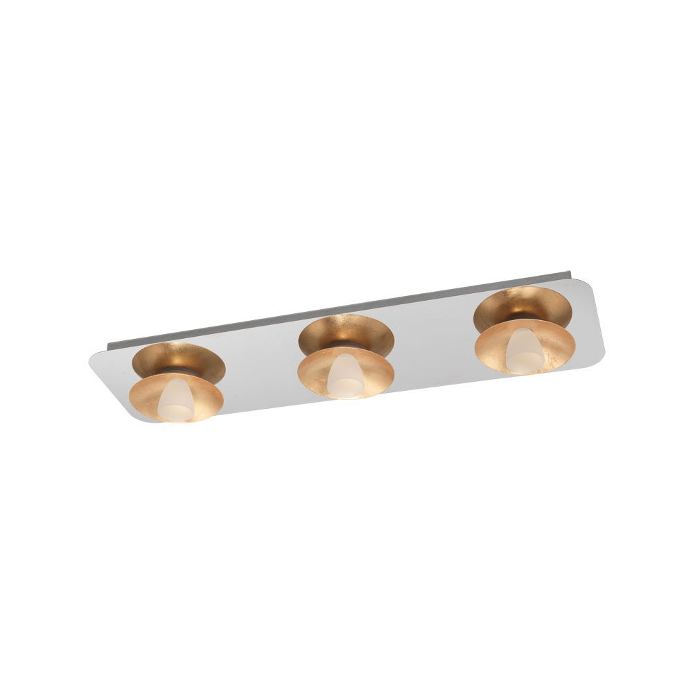 LED Deckenleuchte Torano 3-flg. Chrom, Goldfarben, Weiß