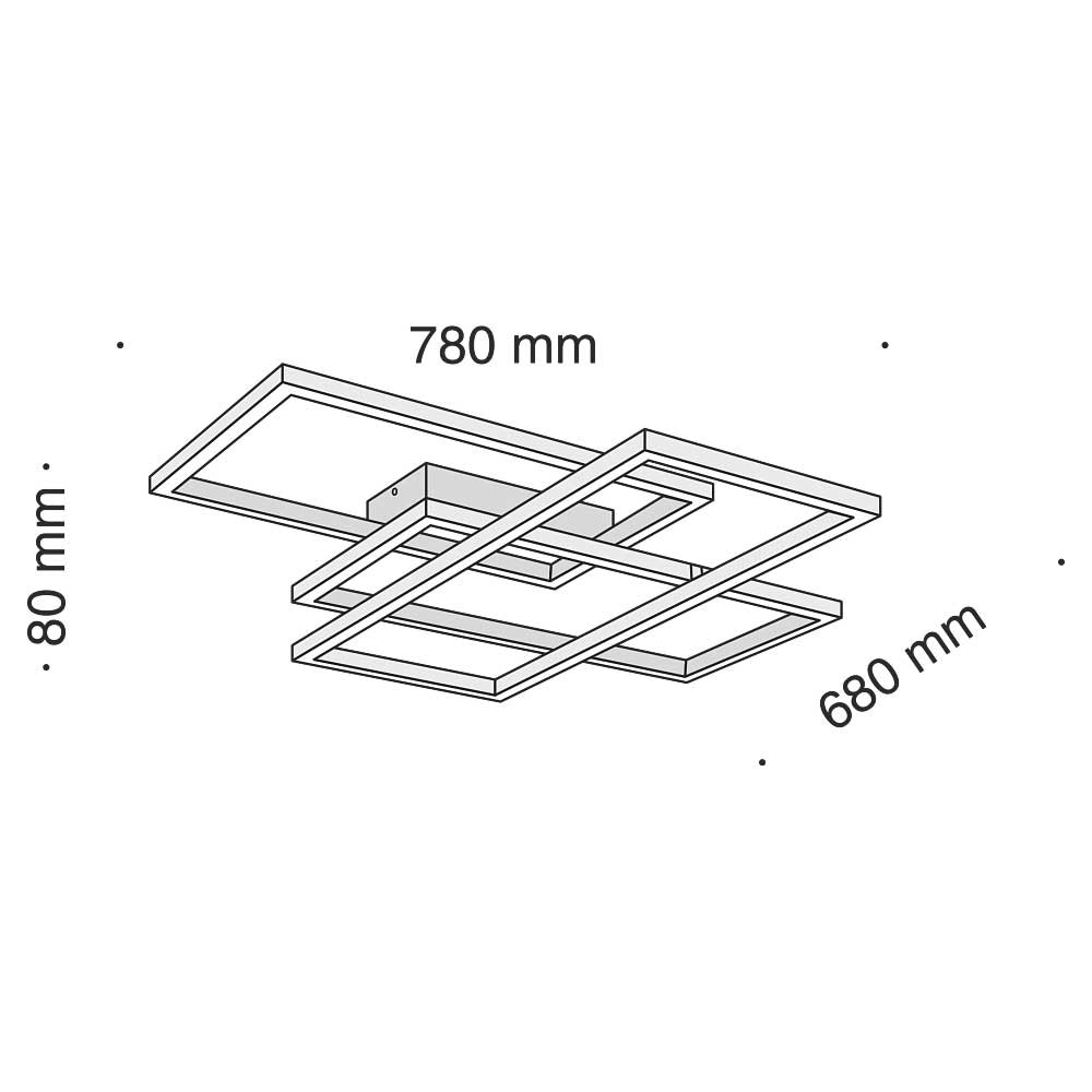 LED-Deckenleuchte Lines mit 3 Rechtecken 78cm 5000lm Schwarz 3