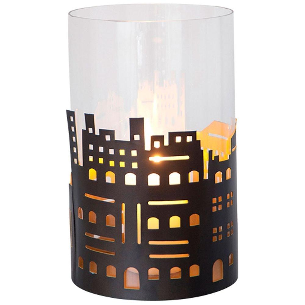 Windlicht Skyline Gross Metall-Glas Braun-Gold 2