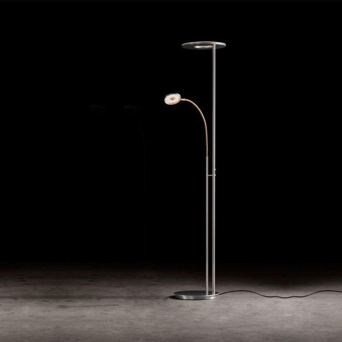 Holtkötter Stehlampe NOVA FLEX Alu-Matt, Grau Tastdimmer Power LED warm 1