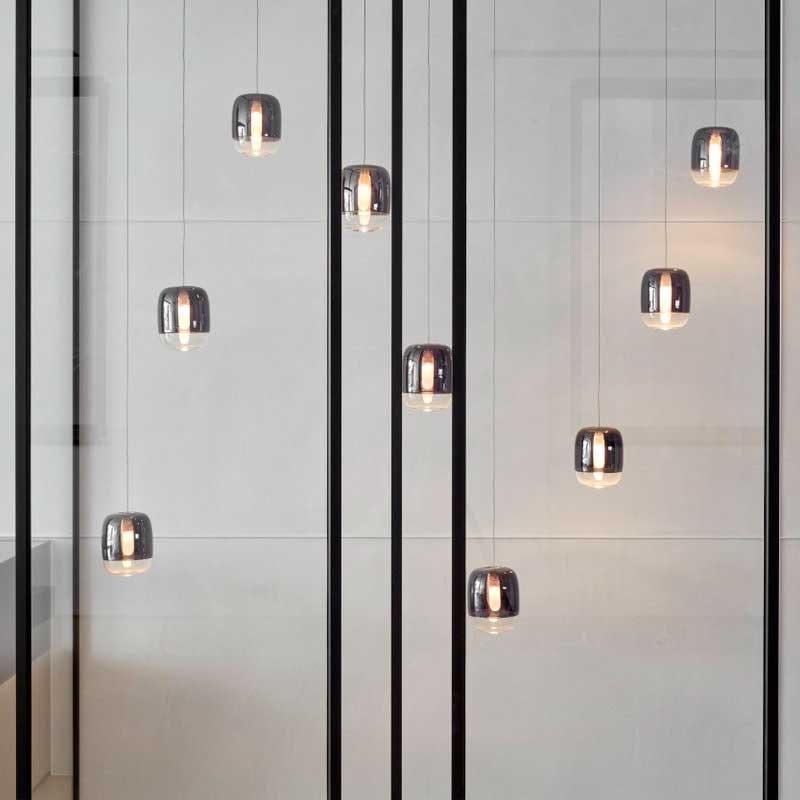 Prandina lange Hängeleuchte Gong Mini 9-flammig Silberfarben 3