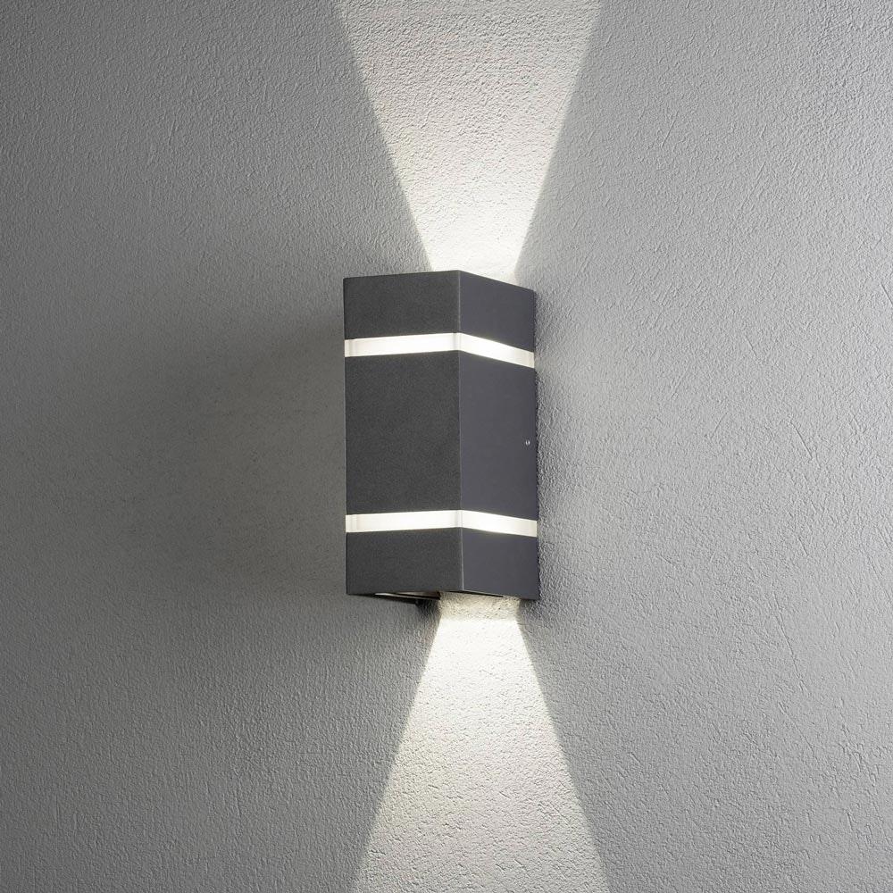 Cremona LED Aussen-Wandleuchte mit Lichtstreifen + Lichtstrahl einstellbar Anthrazit 1