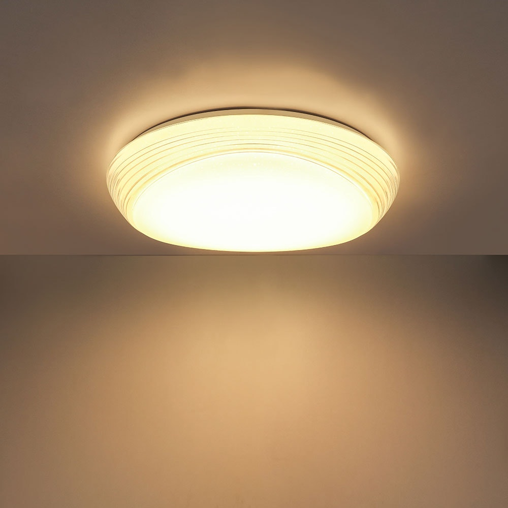 LED Deckenleuchte Lucas Sparkle Dekor CCT 3000-6000K Weiß, Opal 1