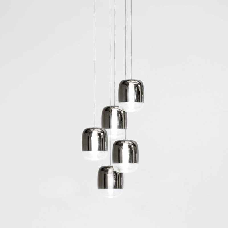 Prandina Galerie Hängeleuchte Gong Mini 5-flammig Silberfarben