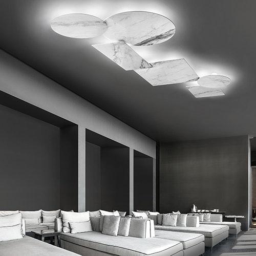 Studio Italia Design Puzzle Mega Round Ø 80cm Wand- & Deckenlampe Marmor 1