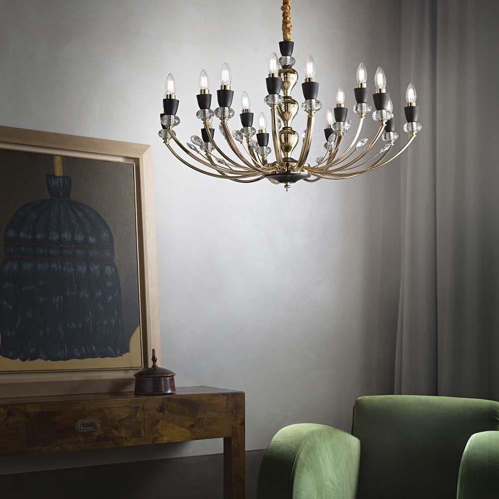 Ideal Lux Hängeleuchte Vanity 15-flg. Schwarz, Klar 1