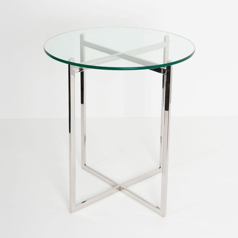 Tisch Favorito Edelstahl-Glas Silber-Klar 2