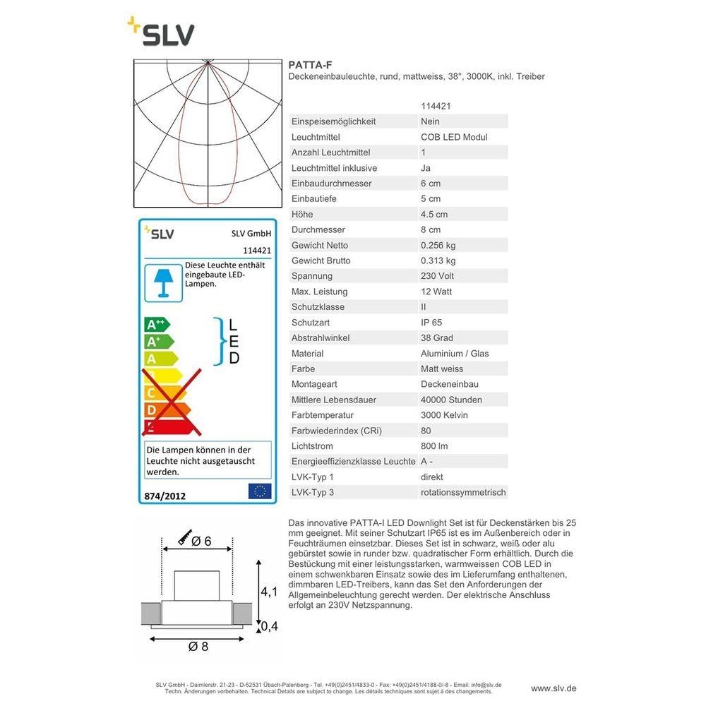 SLV PATTA-F Deckeneinbauleuchte rund Weiß 9W 38° 3000K inkl. Treiber 2