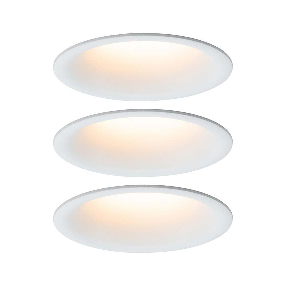 3er-Set LED Einbaulampen Cymbal Coin Warmdimmfunktion IP44 Weiß