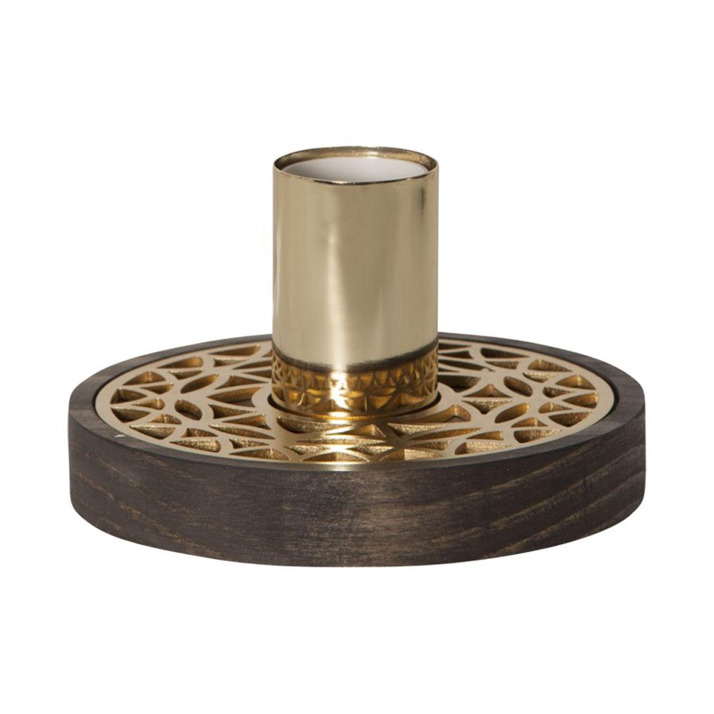 Tischleuchte in Holz und Goldfarben für E27 Leuchtmittel