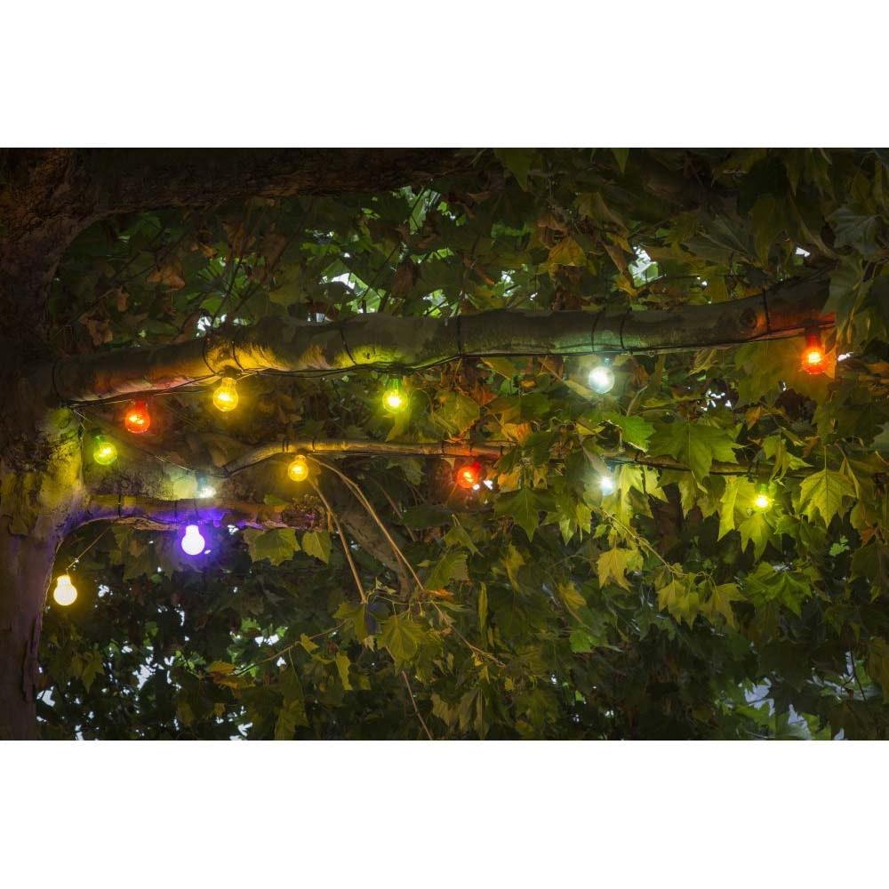 LED Biergartenketten System Erweiterung Lichterkette 10 bunte Birnen 80 warmweiße Dioden IP44 2