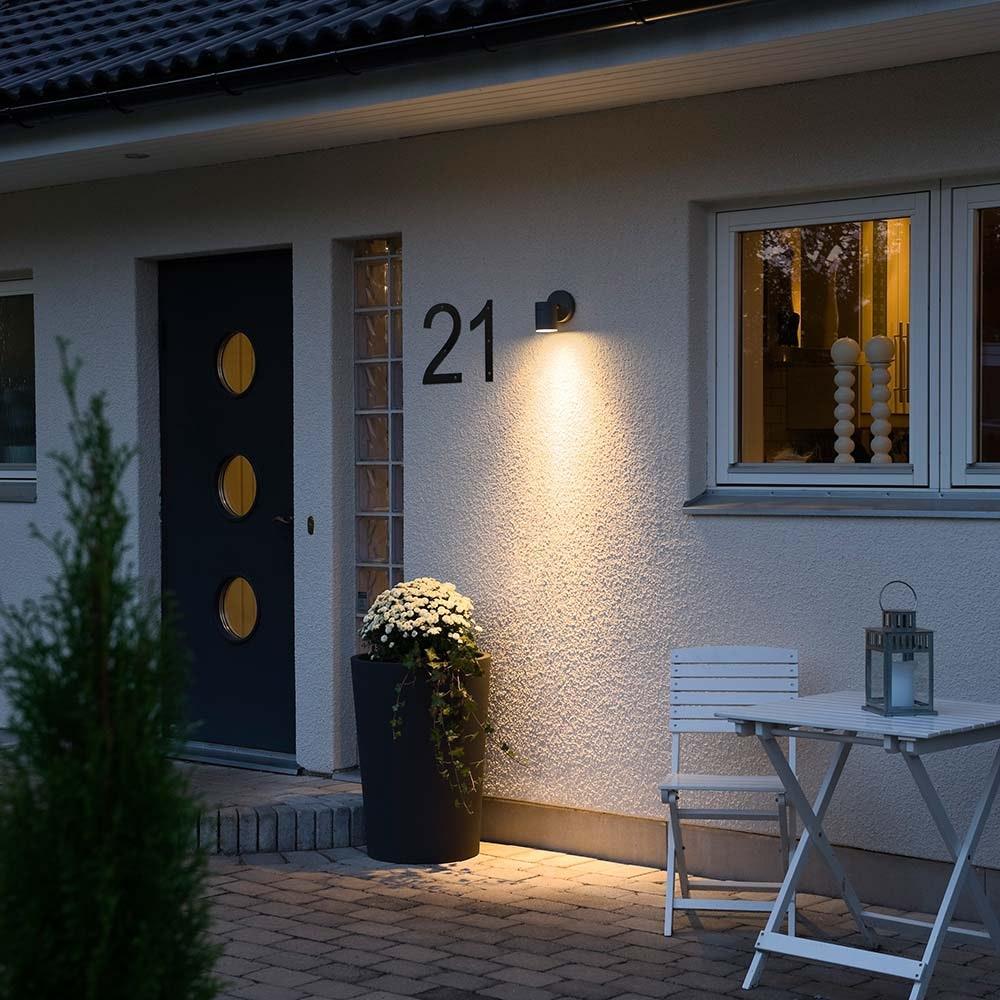 Modena Aussen-Wandleuchte Schwarz, klares Glas, Reflektor 2