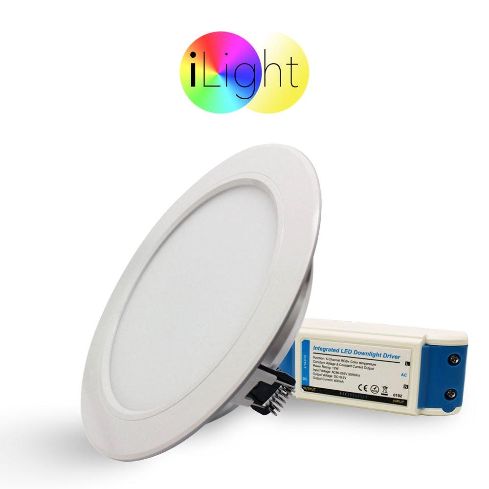 s.LUCE LED-Einbaupanel iLight Ø18cm 1056lm RGB + CCT 2