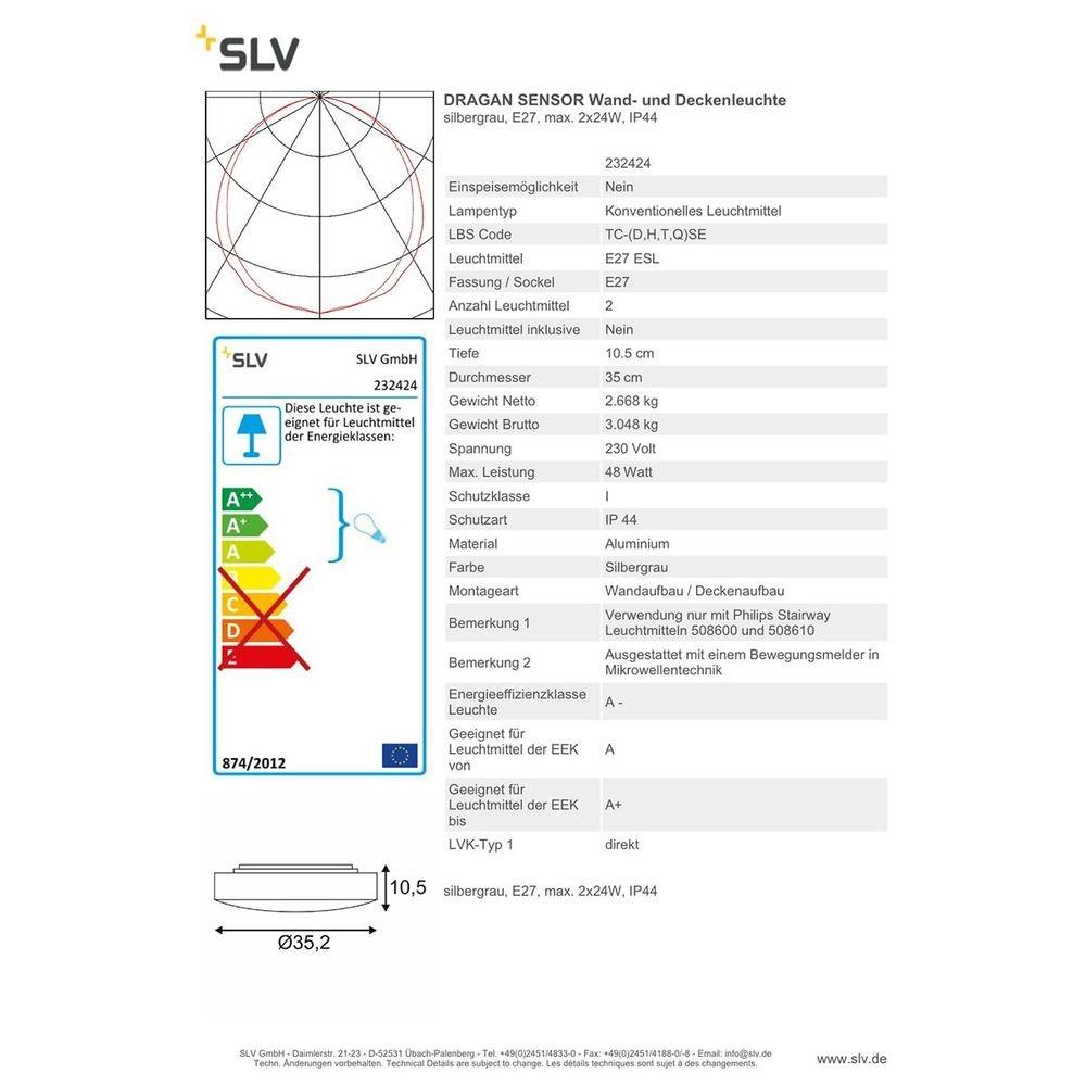 SLV Dragan Sensor Wand- und Deckenleuchte silbergrau E27 IP44 2