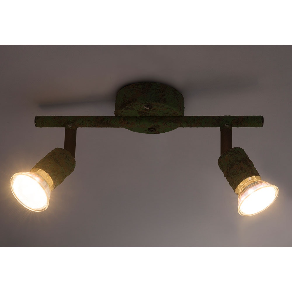 LED Strahler Olana 2-flg. Grün, Rostfarben 2