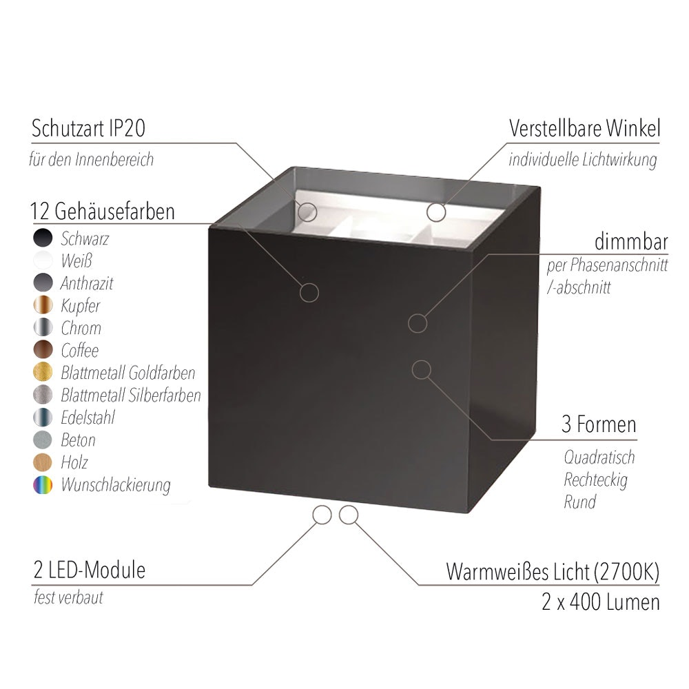 s.LUCE pro Ixa LED High Power Wandlampe IP20 13