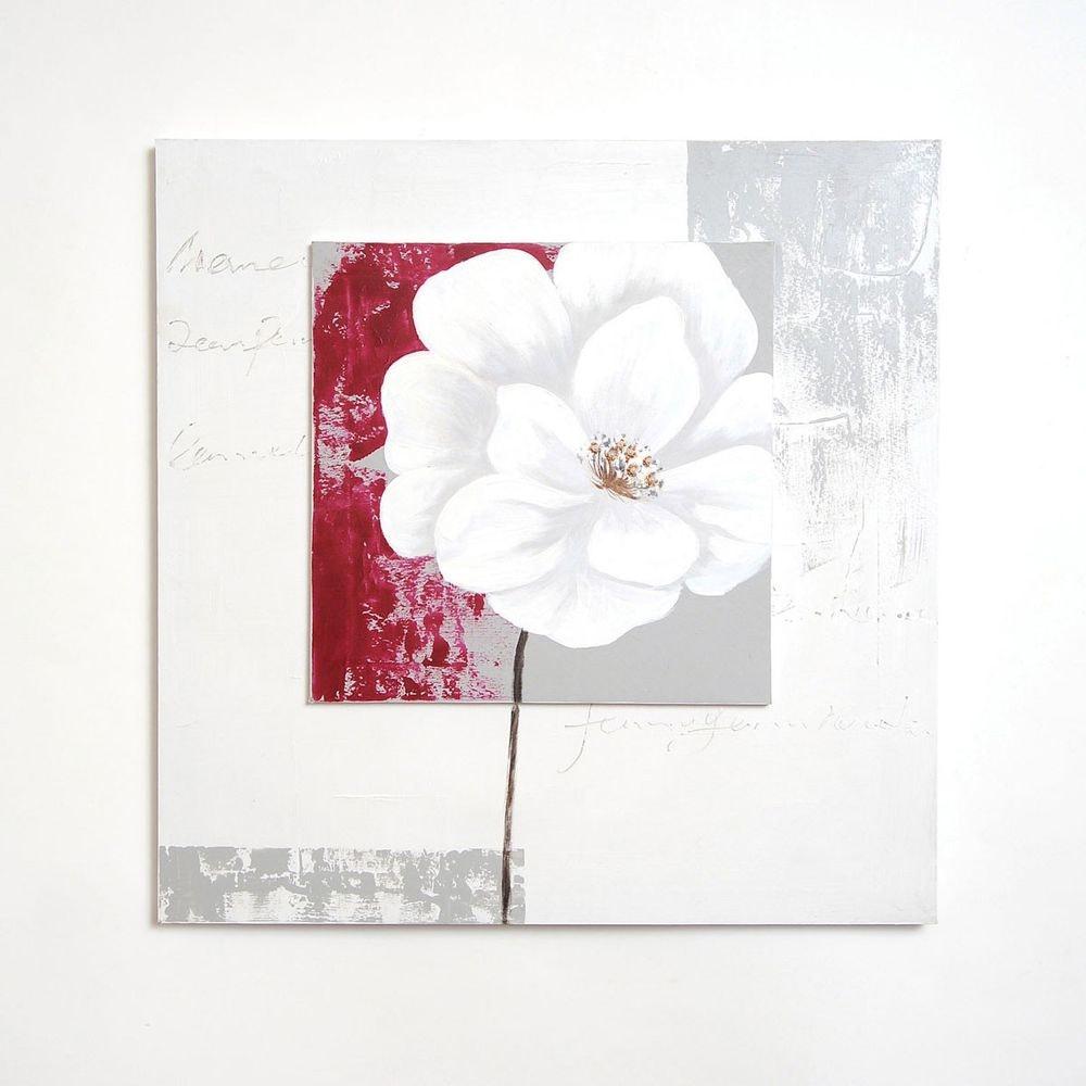 Wandbild Cugina Leinwand-Holzrahmen Weiß-Grau-Rot 2