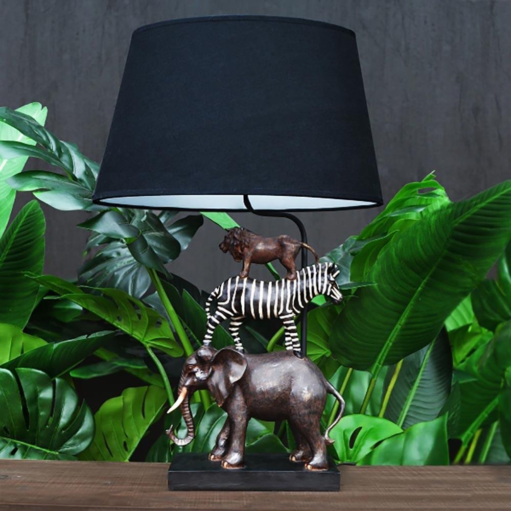 Dekorative Tischleuchte Safari Schwarz