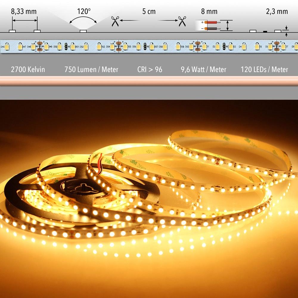 5m LED-Strip 9, 6 W/m extra Warmweiß IP20
