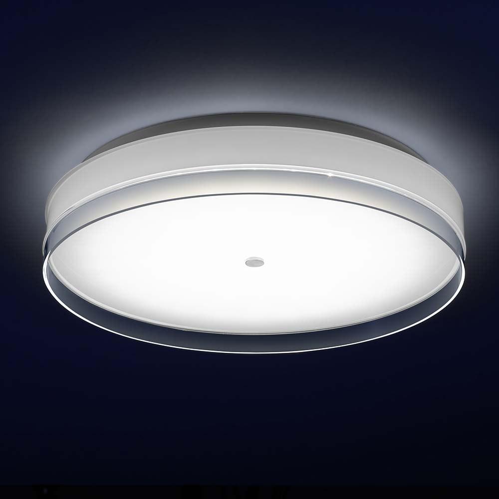 Helestra LED Deckenleuchte Yuma Weiß, Opalglas mit Dekorrand klar