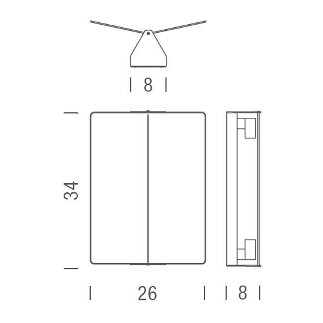 Nemo Applique À Volet Pivotant Plié LED Wandlampe 26x34 3