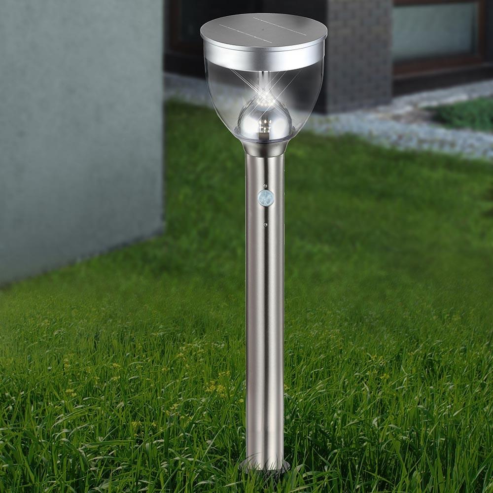 LED Sensor Solar Sockelleuchte mit Spieß Edelstahl 4
