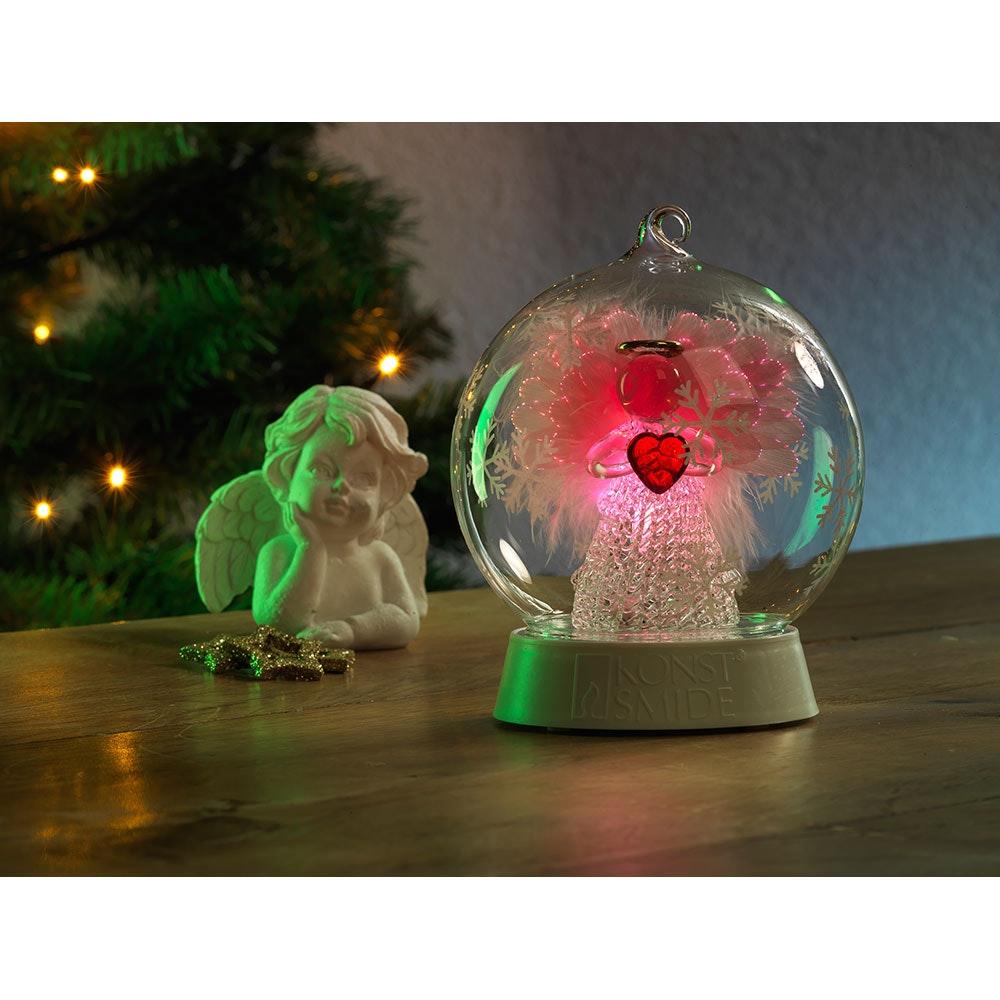 Glaskugel Engel mit 3 Funktionen Timer RGB-Farbwechsel 1 RGB Diode batteriebetrieben 1