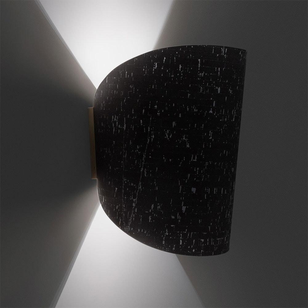 Holz Wandlampe mit Schirm geschwungen 2