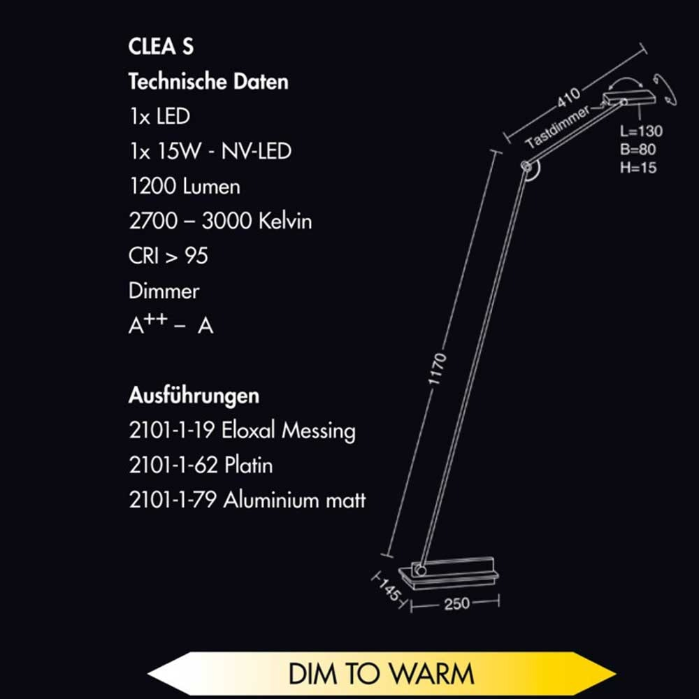 Holtkötter LED-Leseleuchte CLEA S Platin mit Tastdimmer 1200lm SunLike 4