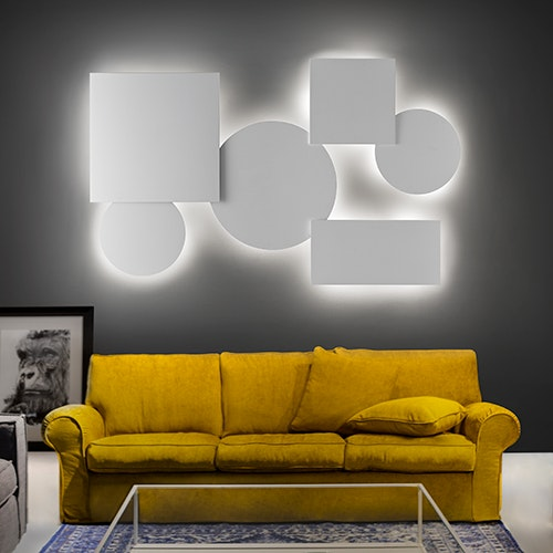 Studio Italia Design Puzzle Mega Round Ø 53cm Wand- & Deckenlampe Weiss thumbnail 3
