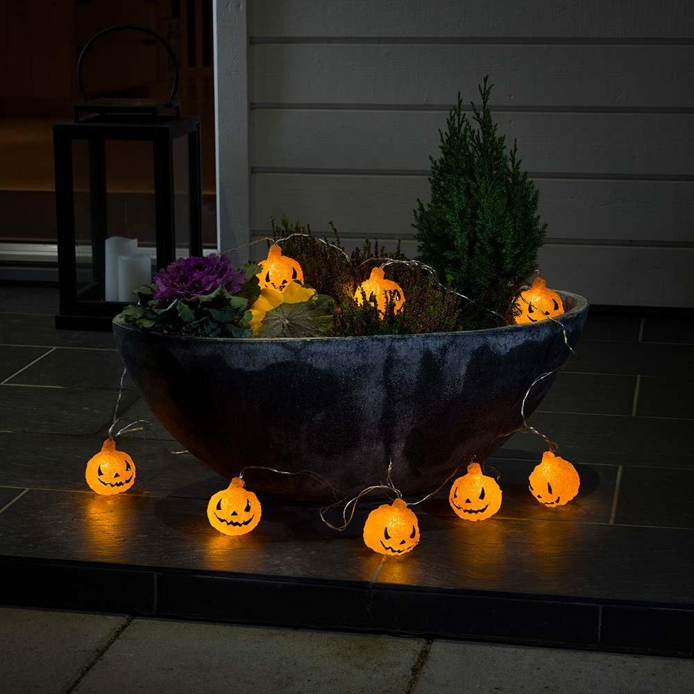 LED Halloween Dekolichterkette Kürbis batteriebetrieben