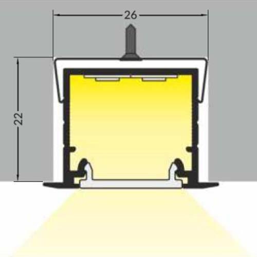 Einbauprofil tief 200cm Weiß ohne Abdeckung für LED-Strips 3
