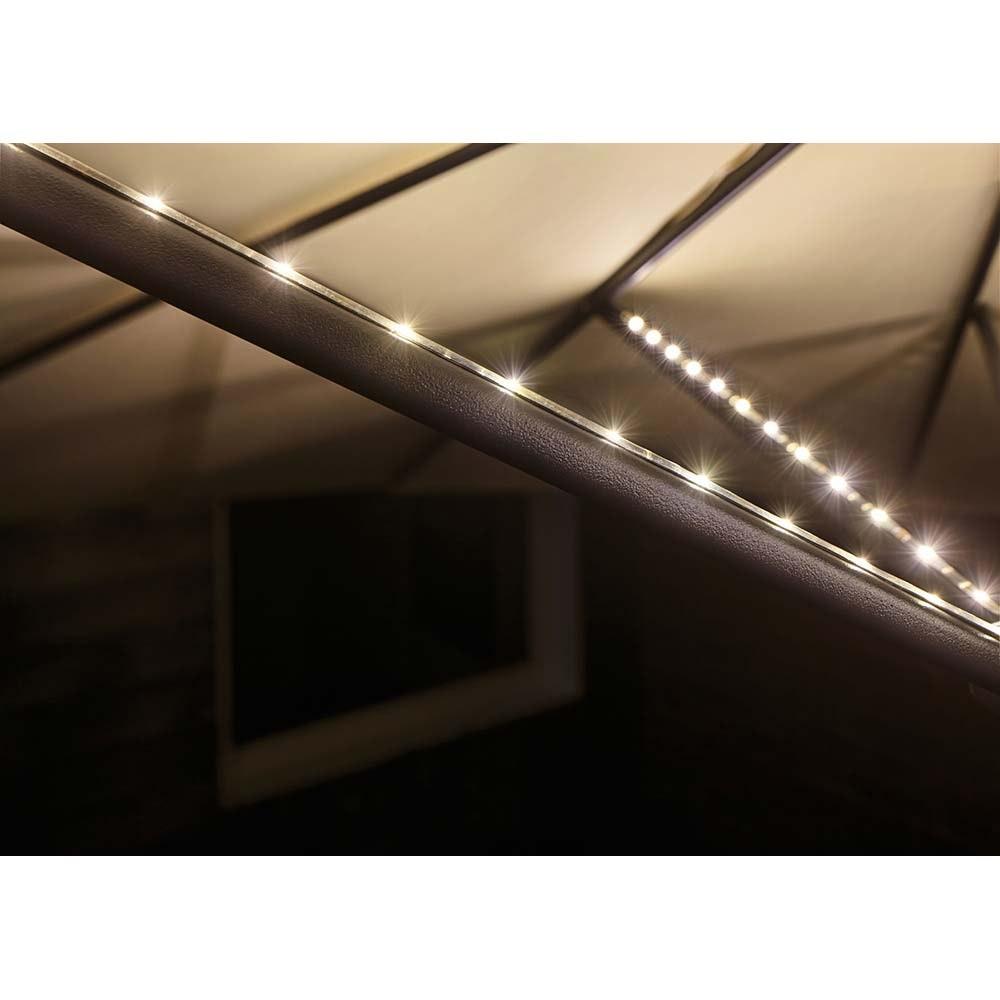 Akku LED-Strip für Sonnenschirm IP44 3000K 4x0, 4m USB 3