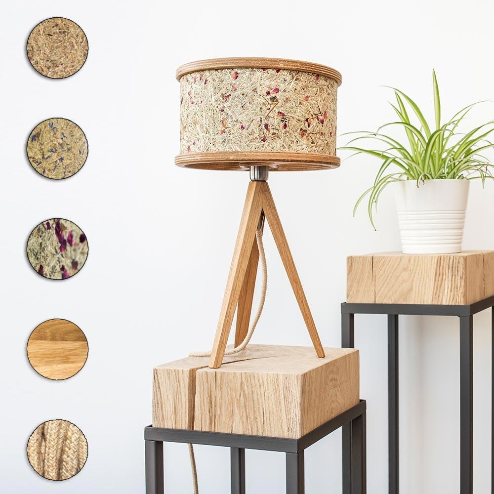 Holz Tischlampe Ø 25cm mit Heuschirm 1