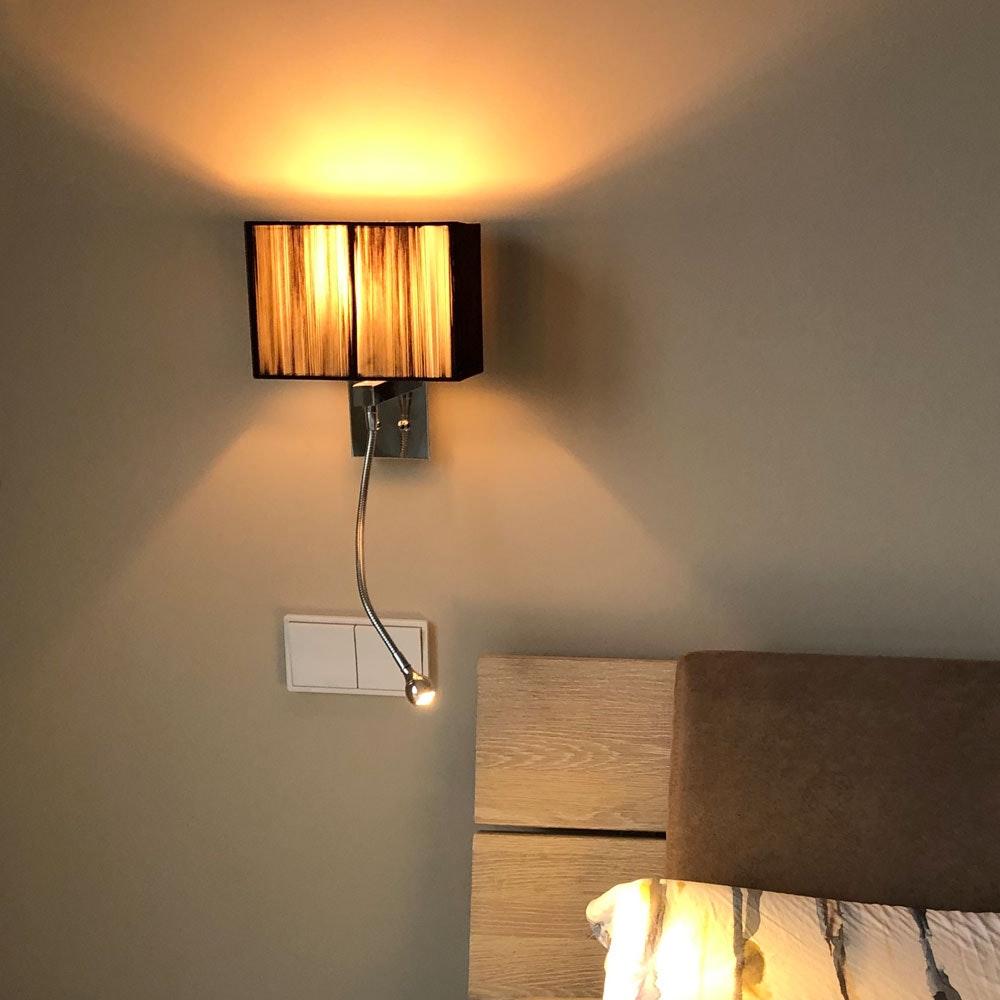 s.LUCE Twine Wandleuchte mit LED-Lesearm und Stoffschirm 5