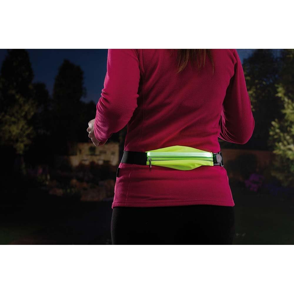 LED Laufgurt mit Smartphone-Fach inkl. USB und Akku Gelb 9