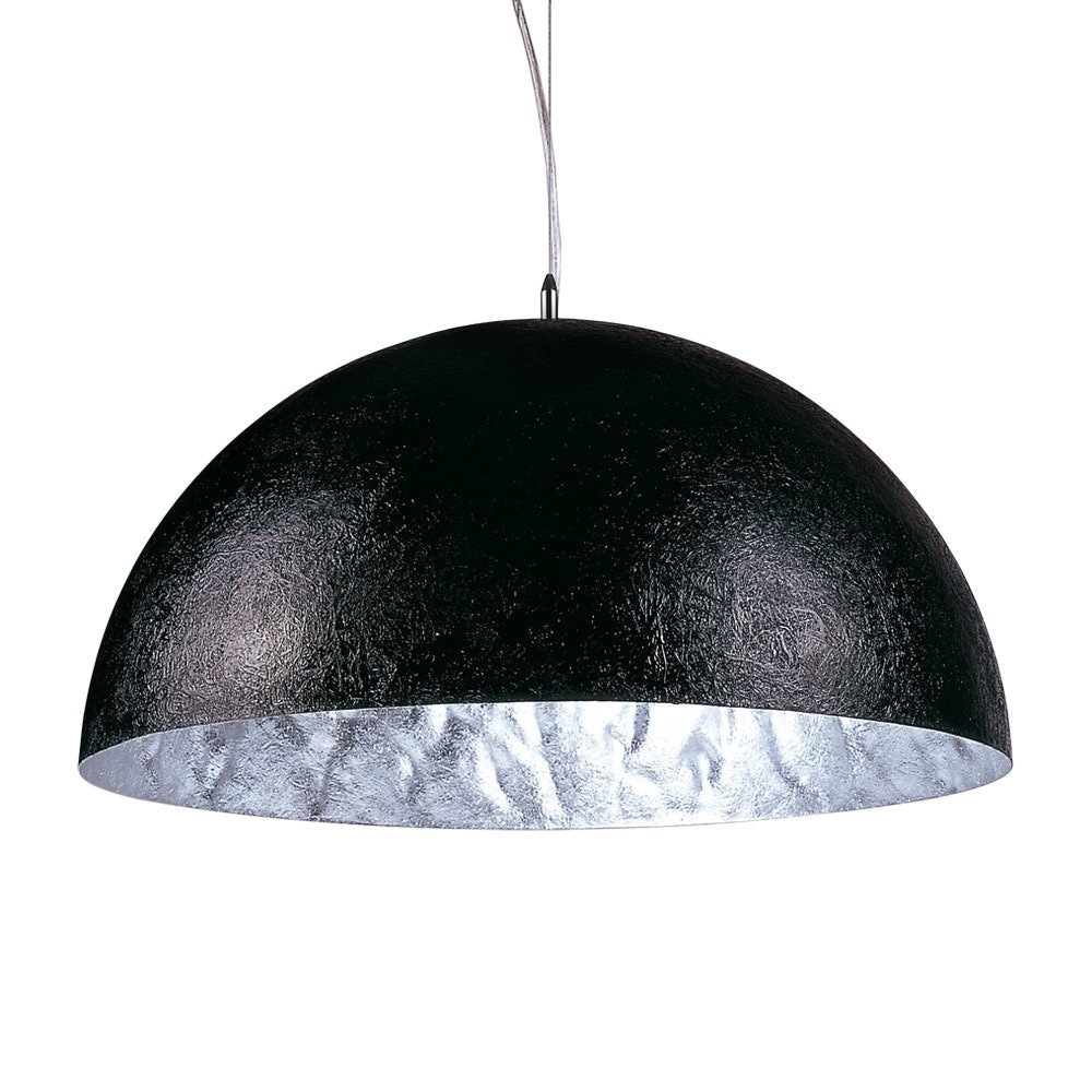 s.LUCE Blister Pendelleuchte 55cm Schwarz, Silberfarben 2