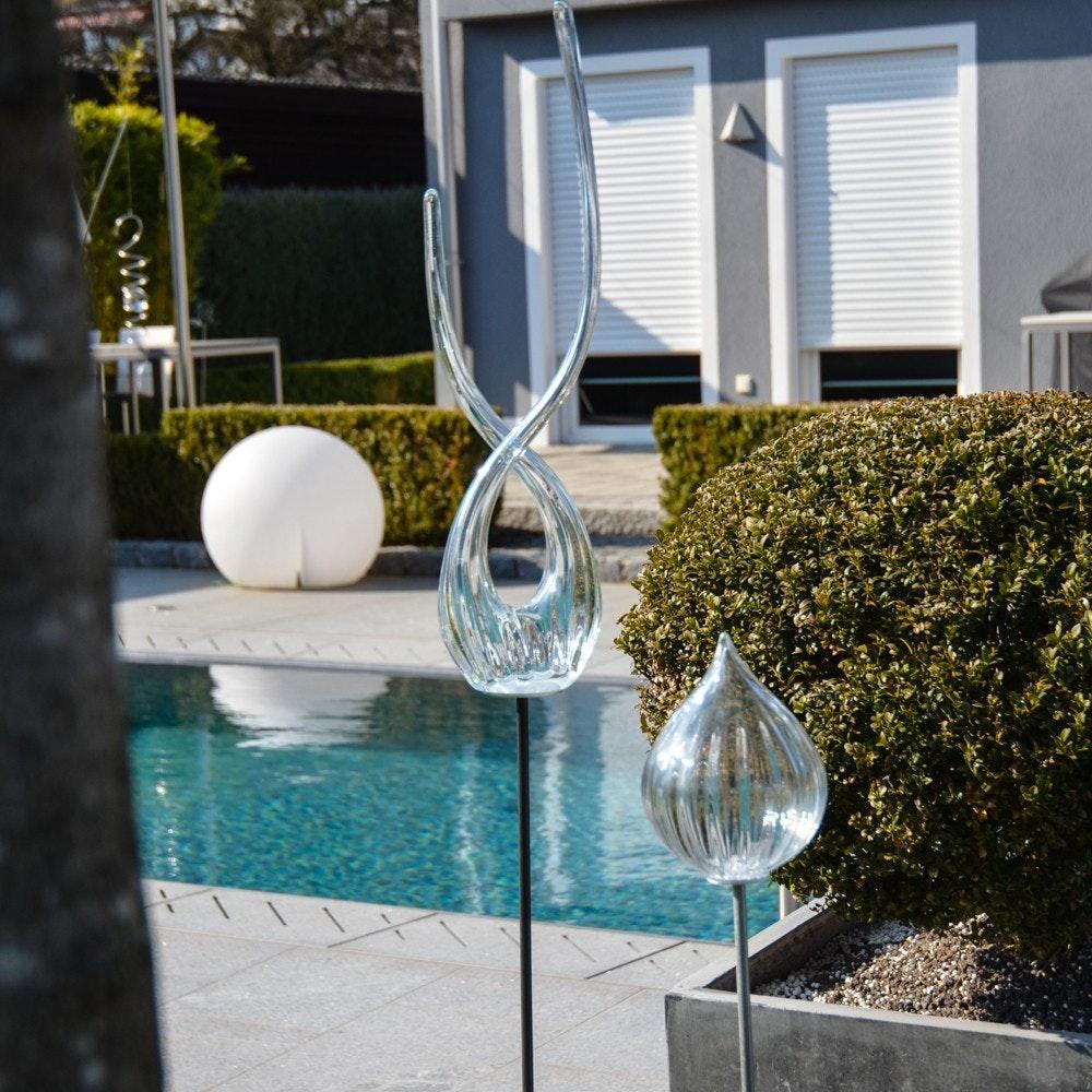 Mundgeblasene Glas-Doppelflamme 115cm mit Erdspiess Klar 2